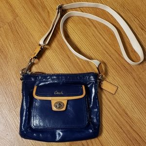 Coach Crossbody Swingpack in Blue Patent Leather